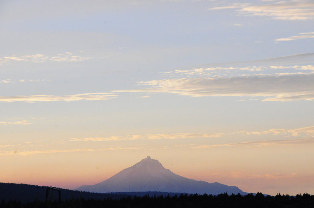 Sunset view of Mt Jefferson, with smoke