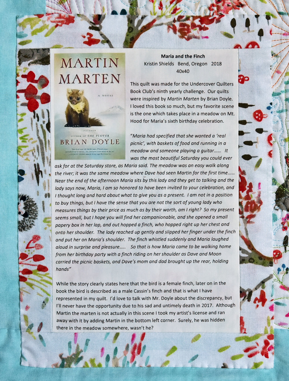 Maria And The Finch Kristin Shields Circuit Bending Fool Pitch Mod Tutorial Print Onto Printable Fabric I Hope Youll Consider Reading Martin Marten Yourself Its A Wonderful Book Quilts Our Group Made Are Really