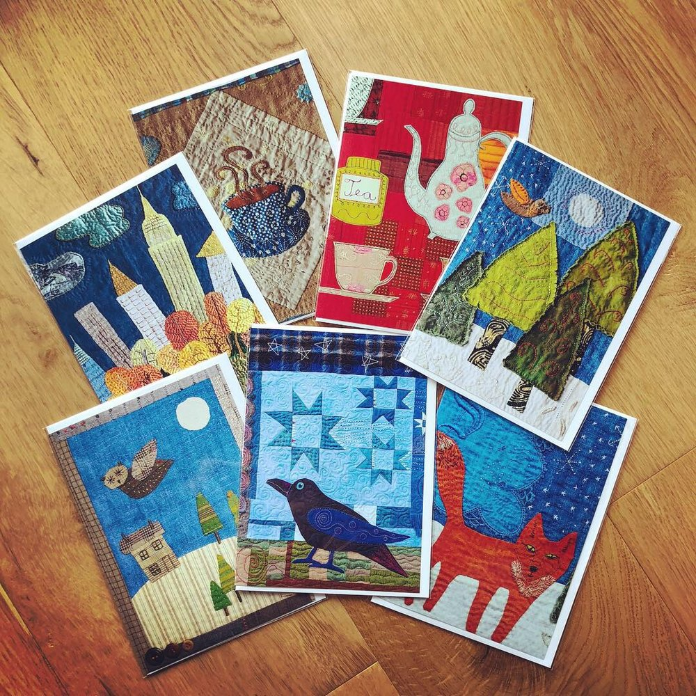 Printed greeting cards from my textile art