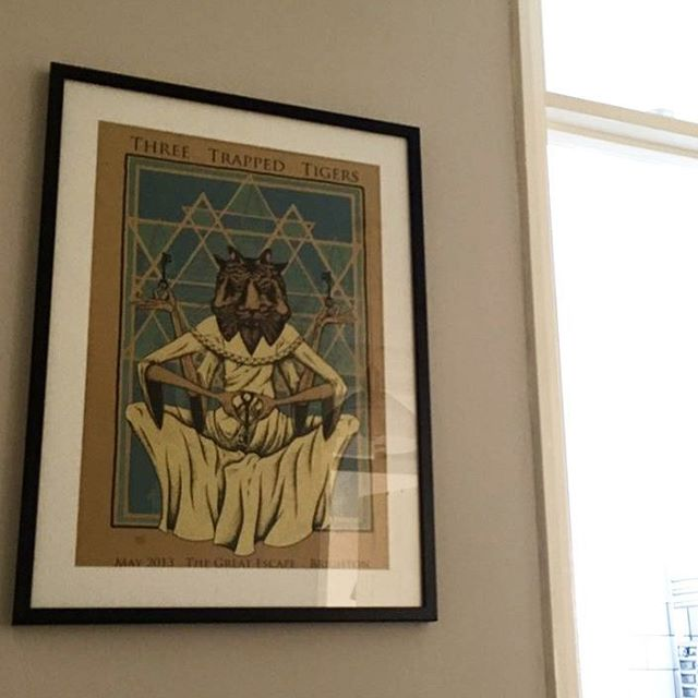 Photo from @kinger172 on #twitter of my #ThreeTrappedTigers print, #framed up on his wall.  Looks great, thanks man!  Do love seeing my stuff up in people's homes.  Send a pic over and I'll be sure to repost! #egotrip