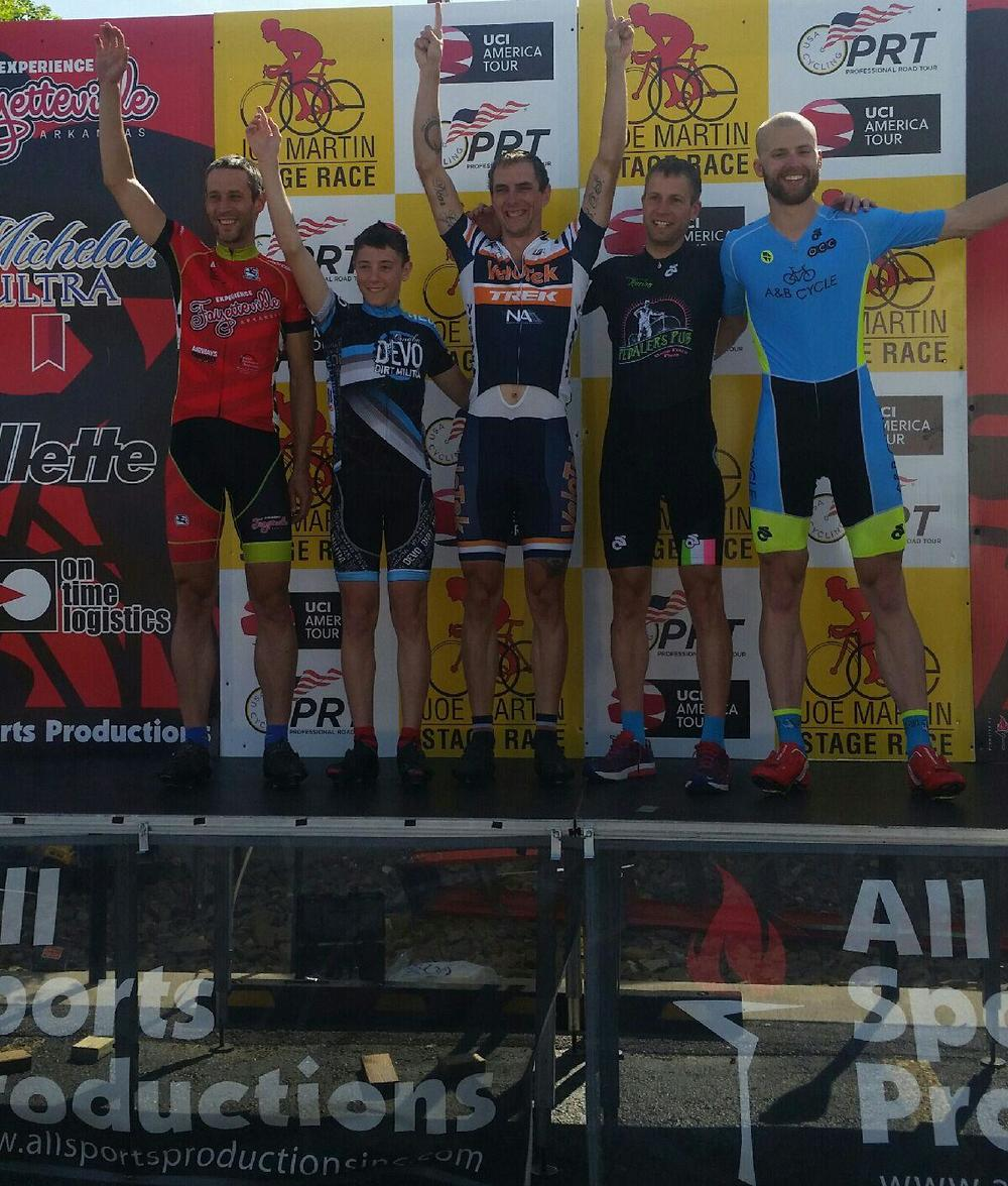 Harvest Devo's Tyler Reynolds, second from left, on the Joe Martin Omnium Podium (3rd place)