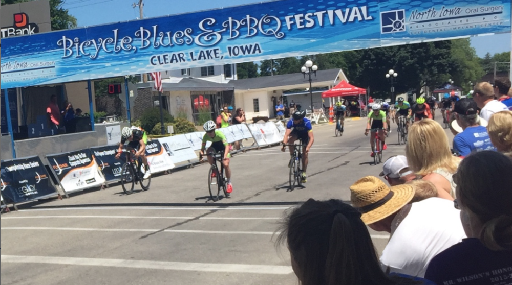 Dillon McNeill sprinting to the line at Clear Lake's Bicycle Blues and BBQ weekend.