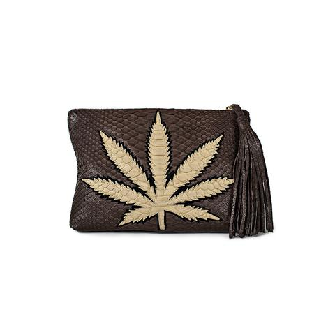 SWEET LEAF CLUTCH - TAN + CHOCOLATE  .jpg