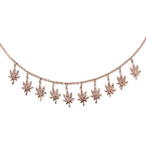 PAVE SWEET LEAF SHAKER NECKLACE  .jpg