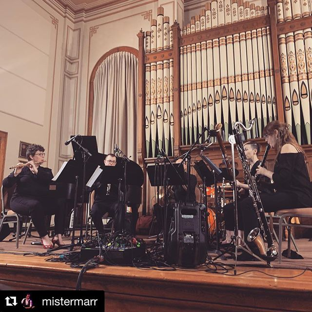 #Repost @mistermarr ・・・ Aaaaand the chapel ensemble concert pix begin... City of Tomorrow wind quintet on a snowy eve. Terrific student pieces. #everythingismusic