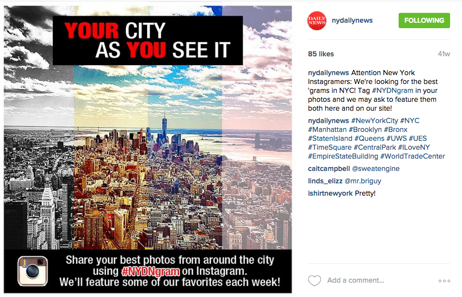 Asking users to submit photos took the New York Daily News Instagram account to the next level.
