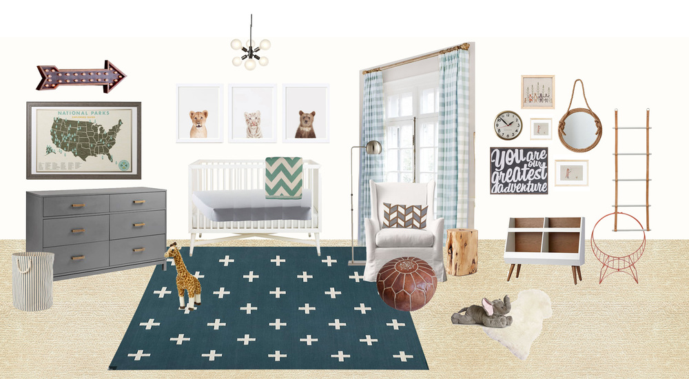 boy's adventure-themed nursery design We easily could've elected to do a white/grey/pastel blue nursery for the baby boy and it would have turned out perfectly lovely. But I really wanted to try something different, and I thought it would be smarter to choose less pastel-colored items that could transition to his big boy room (like the rug, dresser, bookshelf, art). And I'm not sure what piece I found first that guided the design for me–it might have been the national parks map. But I thought we'd go with an explorer/adventure theme. Fortunately my client was totally on board and I just love the finished product of this space (see below–note the curtains and pillow are different in finished product).