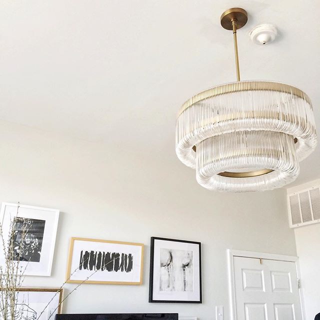 """Welcome to Downton."" ✨ // The handy young gent from @taskrabbit made all my lighting dreams come true this morning! (The waterfall chandelier is currently on sale! --  link in profile) #AVKhome #mywestelm #taskrabbit #gallerywall #thatsdarling #theeverygirl"