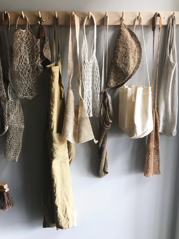 Source: (left to right)  Broom ,  Long Net Bag ,  Short Net Bag ,  nettle cloth ,  Linen Apron , Woven Bag,  White Net Bag ,  Long Woven bag ,  Placemat ,  Long Caramel Net Bag ,  Linen Bag
