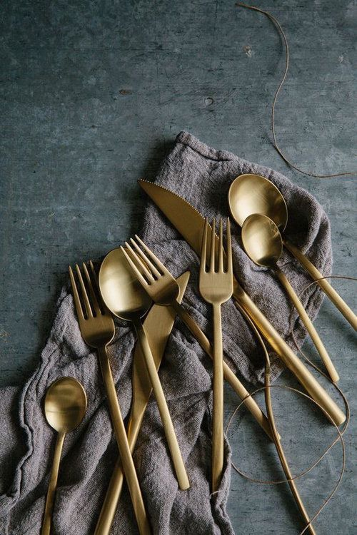 Source:  Styling Surface ,  Linen Towel ,  Flatware