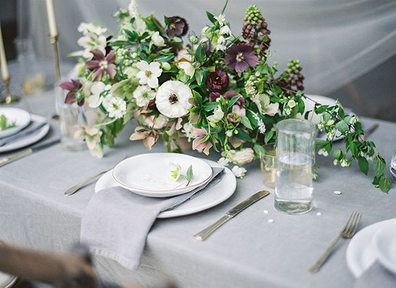 Source:  Linen Table Cloth ,  Plates , Napkins,  Flatware , Candle Sticks, Glasses,