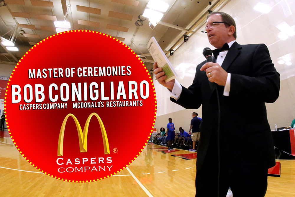 Veteran Master of Ceremonies Bob Conigliaro with  Caspers Company/ McDonalds Restaurants    Caspers has been a title sponsor and integral cornerstone partner of this event for all 25 years.