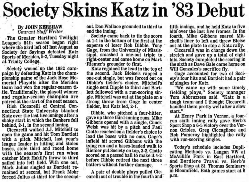 Hartford Courant excerpt - May 25, 1983