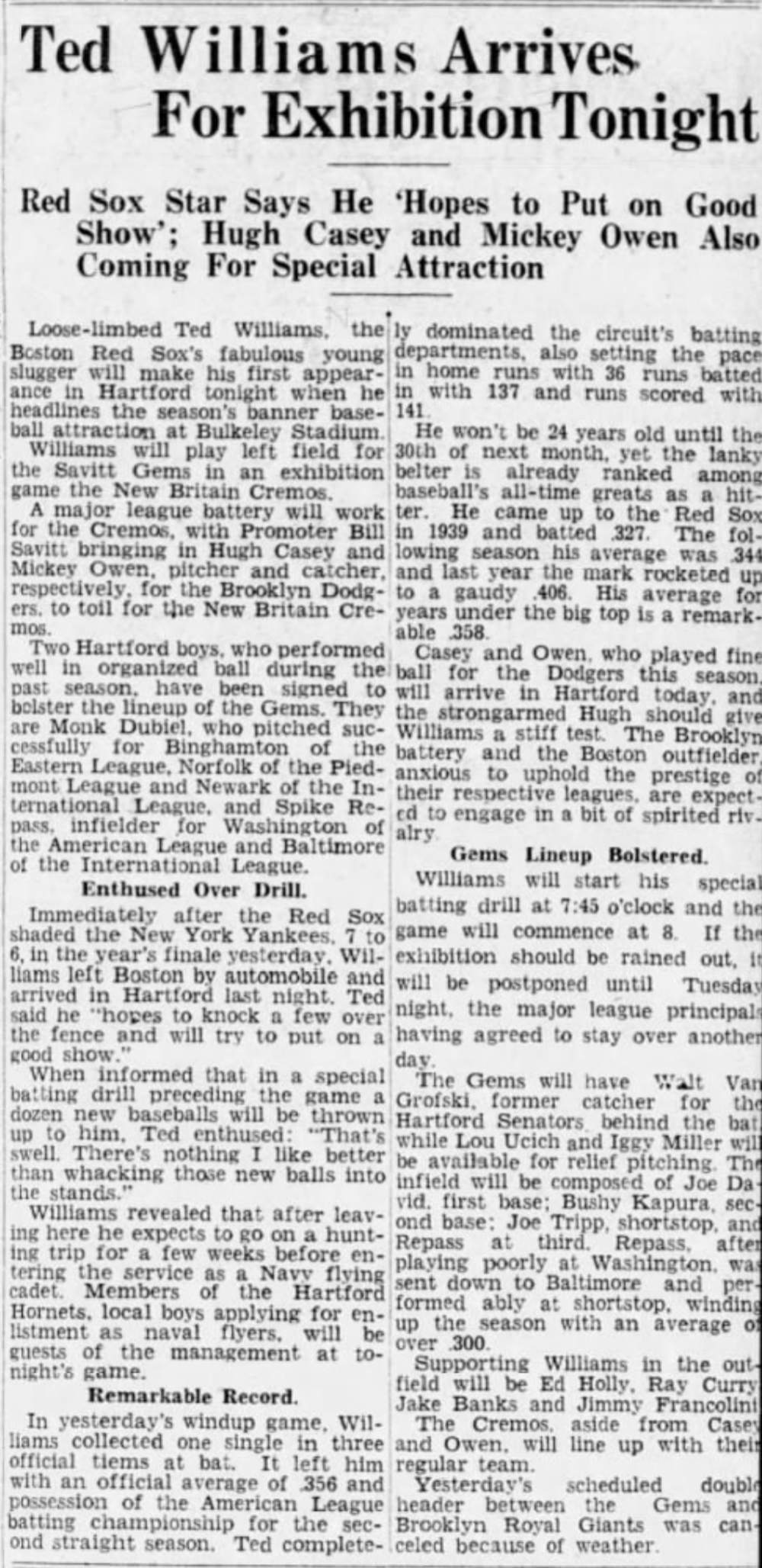 1942 Sep 28 - Ted Williams Plays for Gems.png