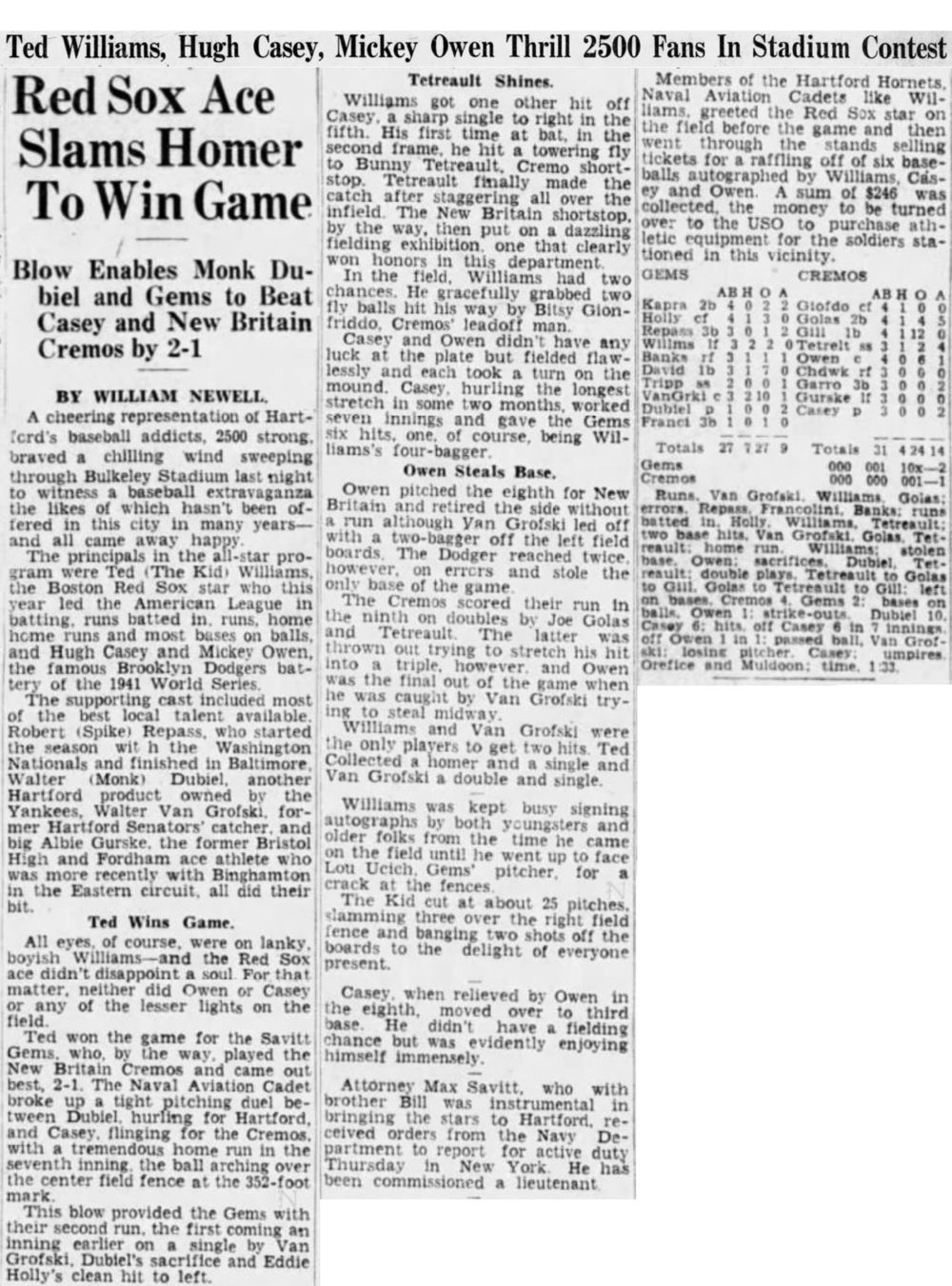 Hartford Courant excerpt from 1942