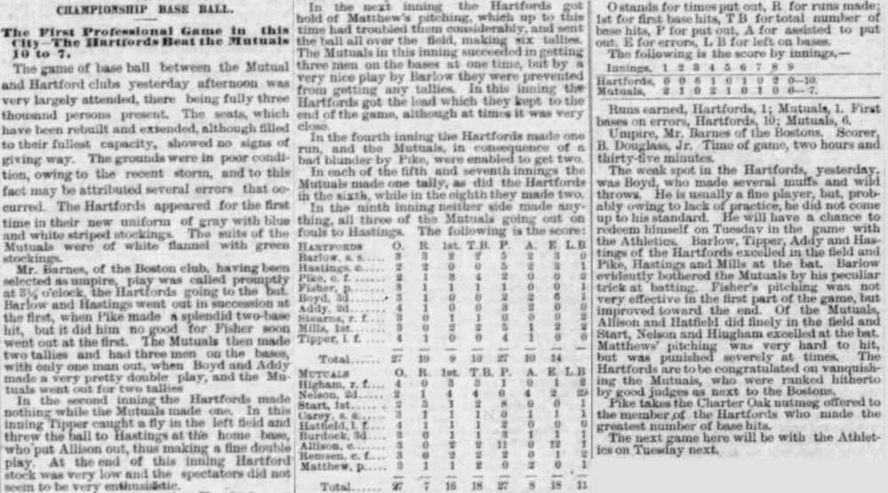 1874First Professional Game in Hartford - New York Mutuals at Hartford Dark Blues on May 2nd at the Hartford Base Ball Grounds. Hartford won by a score of 10 to 7.