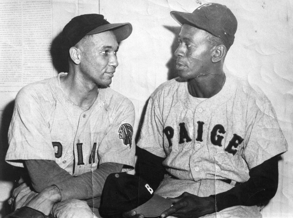 Johnny Taylor (left) after his no-hitter on September 19, 1937 at the Polo Grounds in New York for the Negro National League All Stars against Satchel Paige (right) and the Trujillo All Stars.