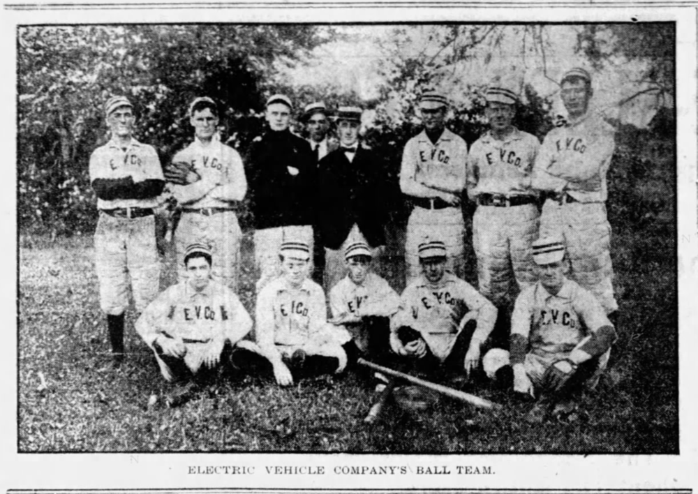 1904Electric Vehicle Company's Ball Team - Electric Vehicle Company competed versus other local manufacturers in the Factory League (later called the Industrial League), one of Hartford's earliest organized amateur baseball leagues.