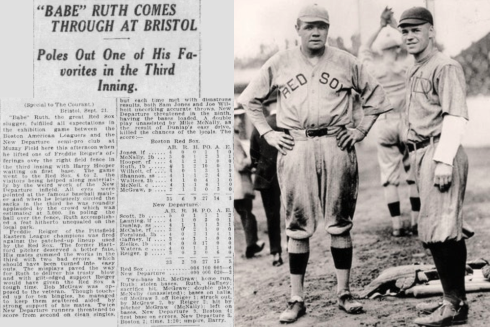 1919Babe Ruth Homers in Bristol - At Muzzy Field, Ruth blasted a two run homer over the right field fence leading the Red Sox over the Bristol based New Departure club by a score of 6 to 2 on Saturday, September 21.