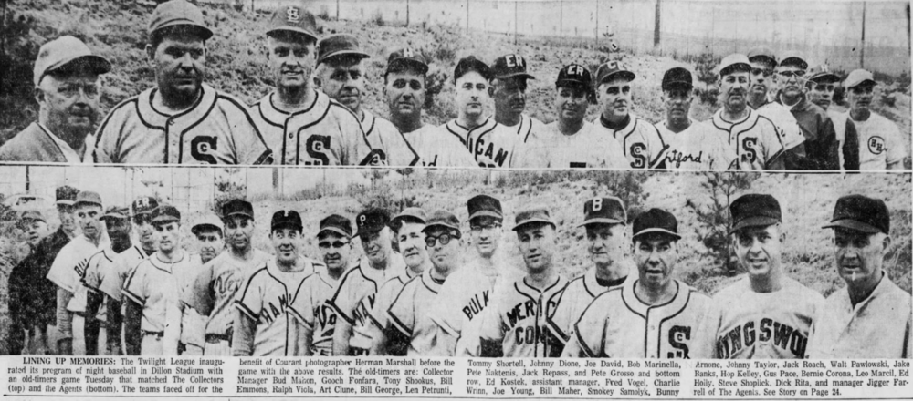 1965GHTBL Hosts first Old-Timers Day - The alumni played the game at Dillon Stadium in Hartford.