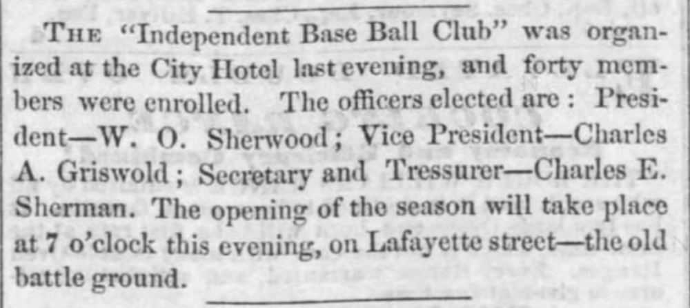 1860 - The Independent Base Ball Club - The first officially organized baseball team in Hartford.