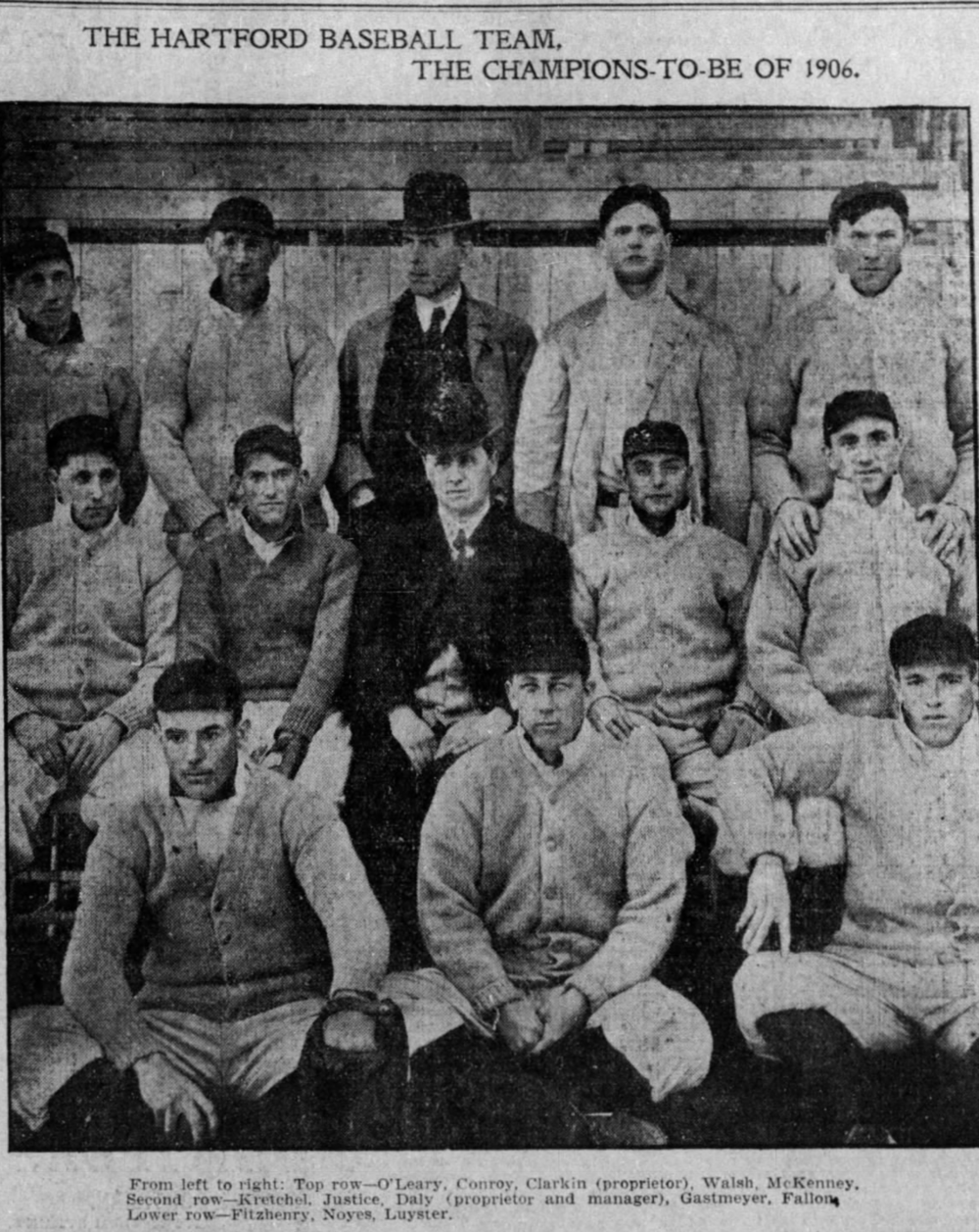 1906The Hartford Senators Baseball Team Champions of the Eastern League - James H. Clarkin, (middle, back) was the owner of the Senators from 1904 to 1916.