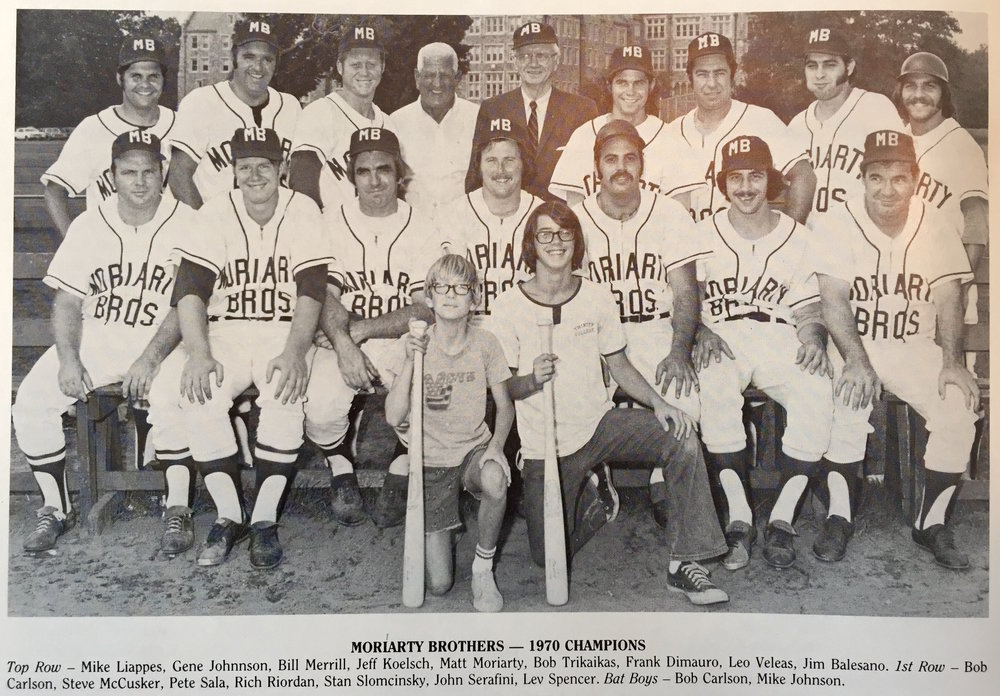 1970 - Moriarty Brothers Dominates Greater Hartford Twilight League - Led by slugging third basemen, Gene Johnson, and sponsor Matt Moriarty, each year the team was comprised of future and former professional players winning several twilight championships over a 25 year span.