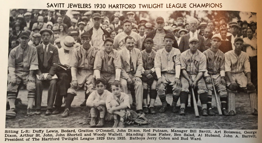 1930The Savitt Gems, Champions of the Hartford Twilight League. - Hartford Jewelry Store owner Bill Savitt and his brother Max Savitt, sponsored and managed the team, who were a main attraction for the city and would later become a semi-pro club.