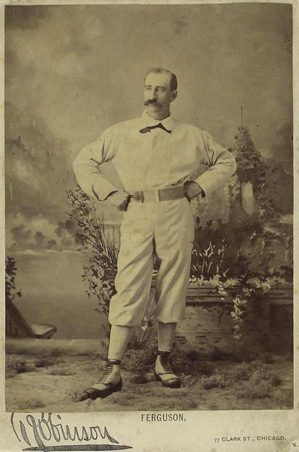 "Bob ""Death to Flying Things"" Ferguson , 17-year professional ballplayer and manager, photographed in 1878 as a new member of the Chicago White Stockings."