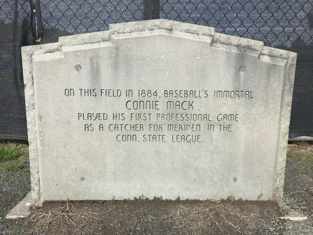 Monument to Connie Mack at Legion Field in Meriden, Connecticut, photographed in 2018.