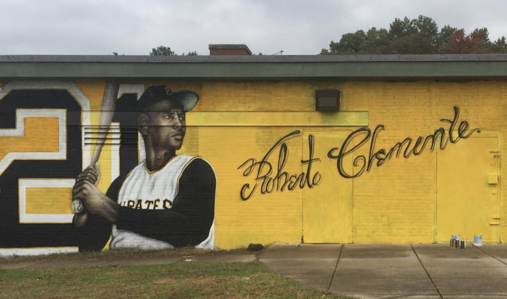 Roberto Clemente mural at Colt Park in Hartford, CT.