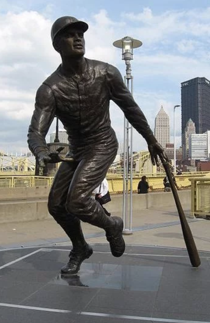 One of three exquisite statues erected outside of PNC Park, Roberto Clemente stands between the Center Field entrance and the Roberto Clemente Bridge.