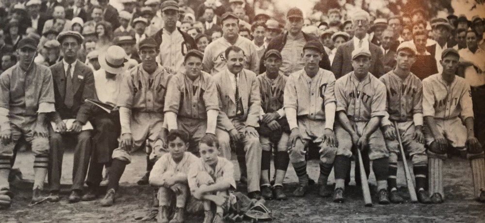 1930 Savitt Gems, Hartford Twilight League champions. Front row (L to R): Duffy Lewis, Peter Bedard, Gratton O'Connell, John Dixon, Red Putnam, Bill Savitt, Art Boisseau, George Dixon, Arthur St. John, John Shortell and Woody Wallett. Batboys: Jerry Cohen and Bud Ward. Back row (L to R): Ben Salad, Al Huband, John A. Barrett, President of the Hartford Twilight League.