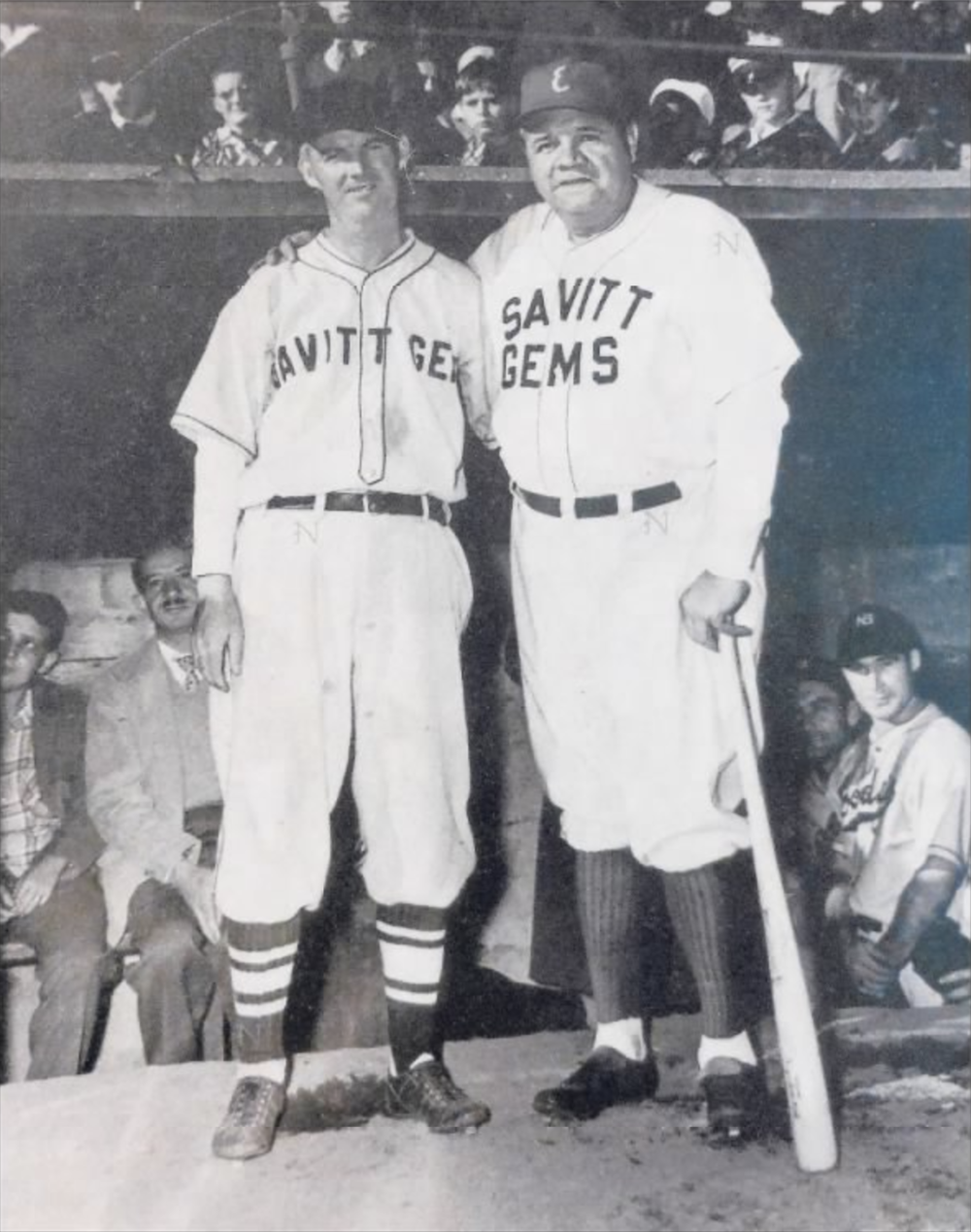 "James ""Jigger"" Farrell and Babe Ruth, 1945."