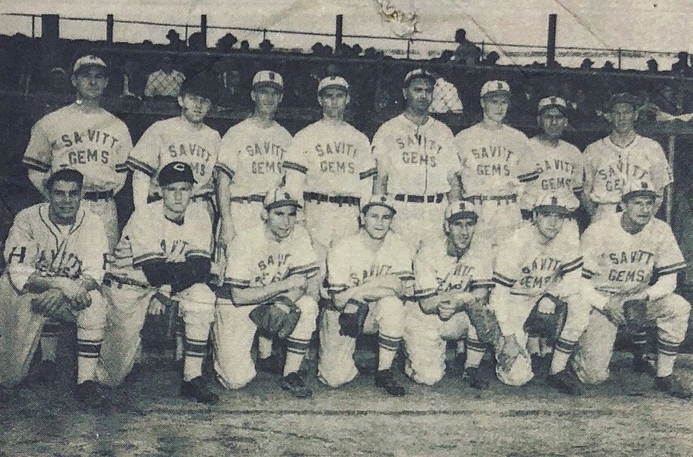 "1941 Savitt Gems at Dexter Park, Queens, NY. Standing (L to R): Joe Tripp, Ron Livingston, Jigger Farrell, Hugh Crane, Hank Karlon, Ed Holly, John ""Bunny"" Roser, Dick Kelly, and Rieto. Kneeling (L to R): George Koval, Danny O'Leary, Ray Curry, Joe David, George Woodend, and Pete Sevetz."