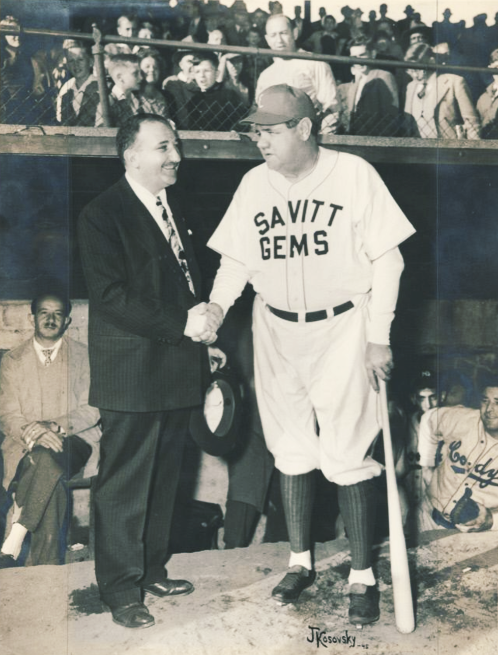 Bill Savitt and Babe Ruth, 1945.