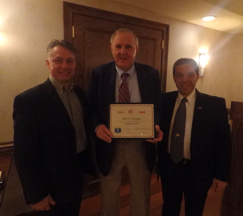 L to R: Chris Kehoe, GHTBL Treasurer, Barry Chasen, GHTBL Hall of Fame Inductee, and Tony Letizio, President, Connecticut Board of Approved Umpires.