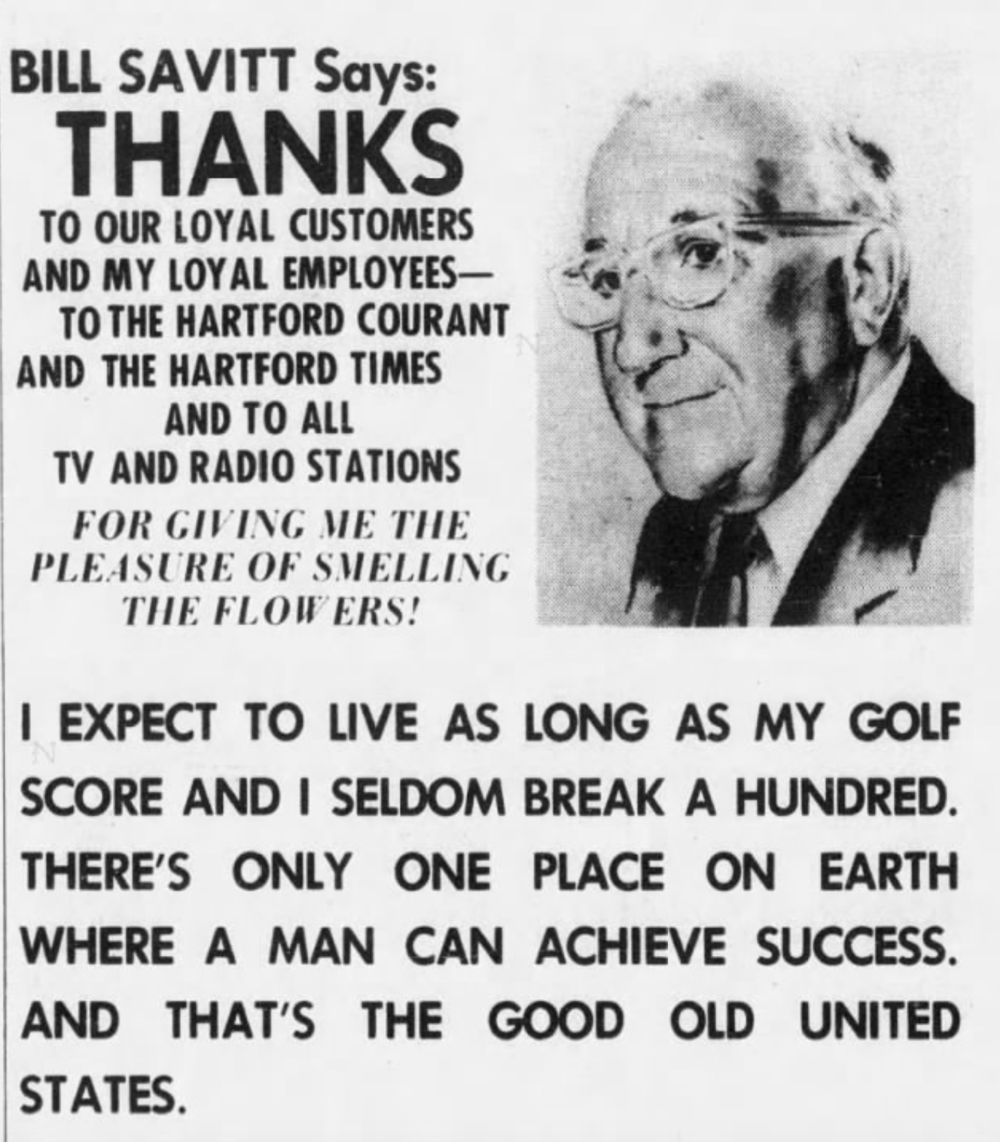 A message from Savitt in the Hartford Courant, 1976.