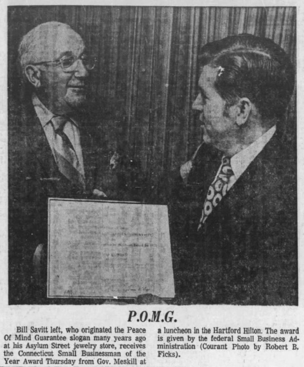 Connecticut Small Businessman of the Year Award, 1971.
