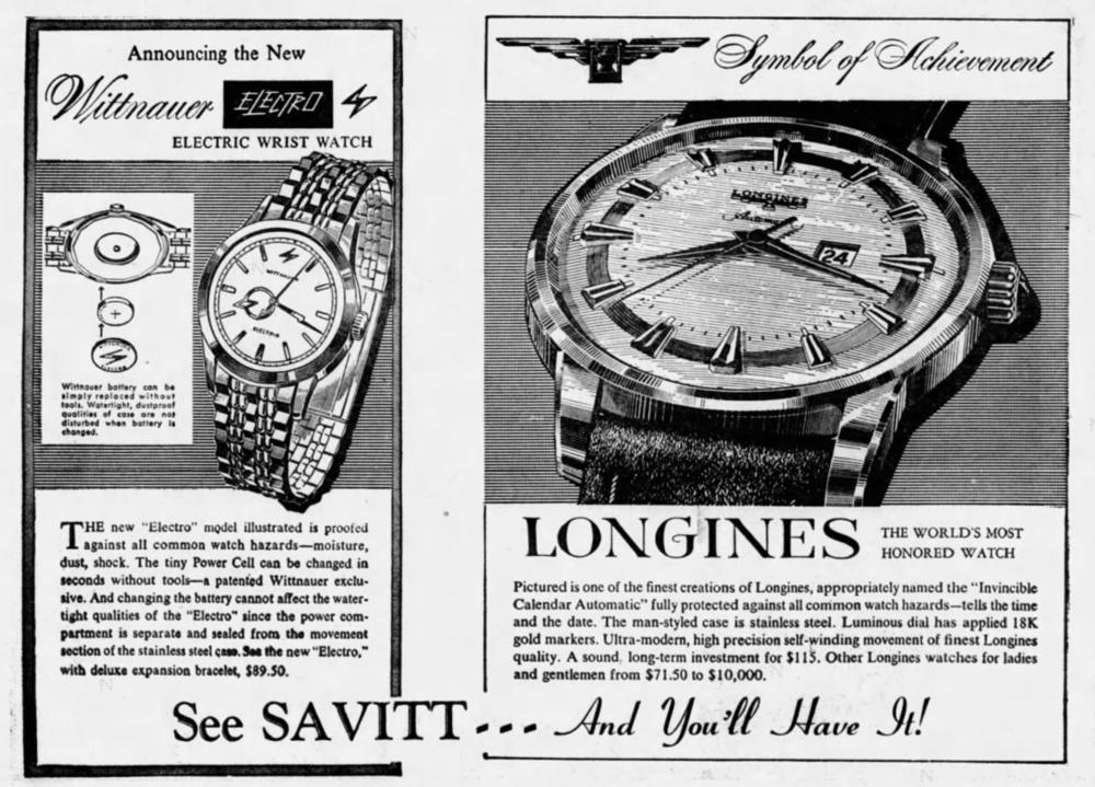Savitt Jewelers advertisement, 1960.