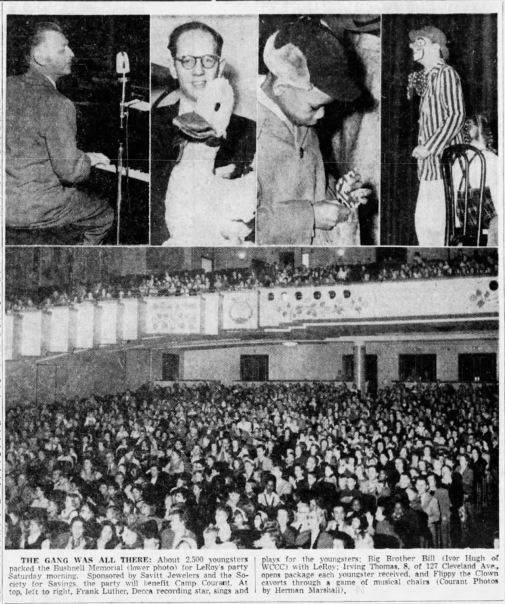 Savitt sponsors show for Camp Courant at the Bushnell, 1955.
