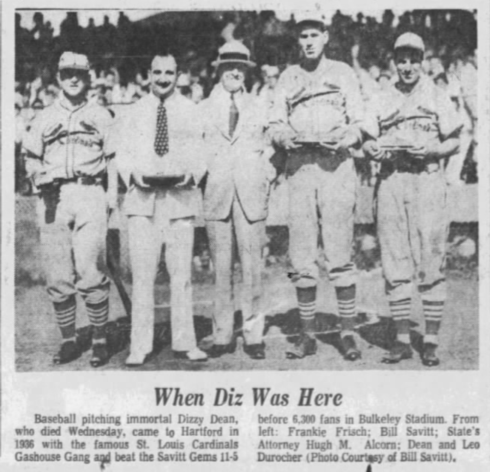 Savitt hosts Dizzy Dean and the St. Louis Cardinals, 1936.