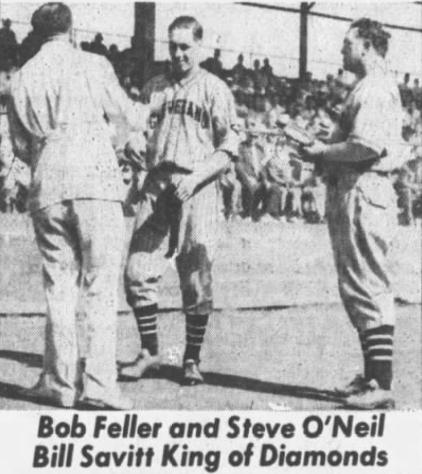 Savitt presents gifts to Bob Feller & Steve O'Neil of the Cleveland Indians, 1937.