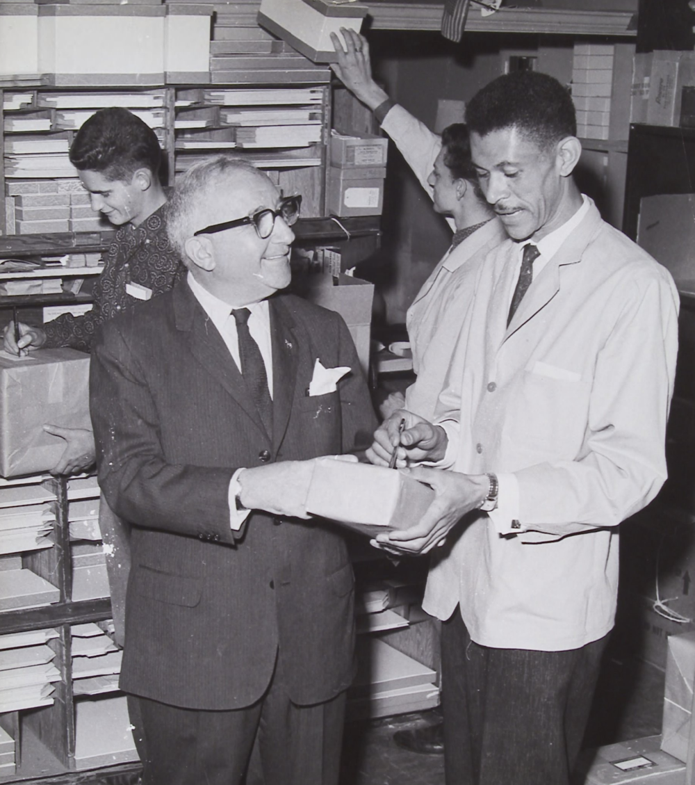 Bill Savitt and employees at Savitt Jewelers, 1960.
