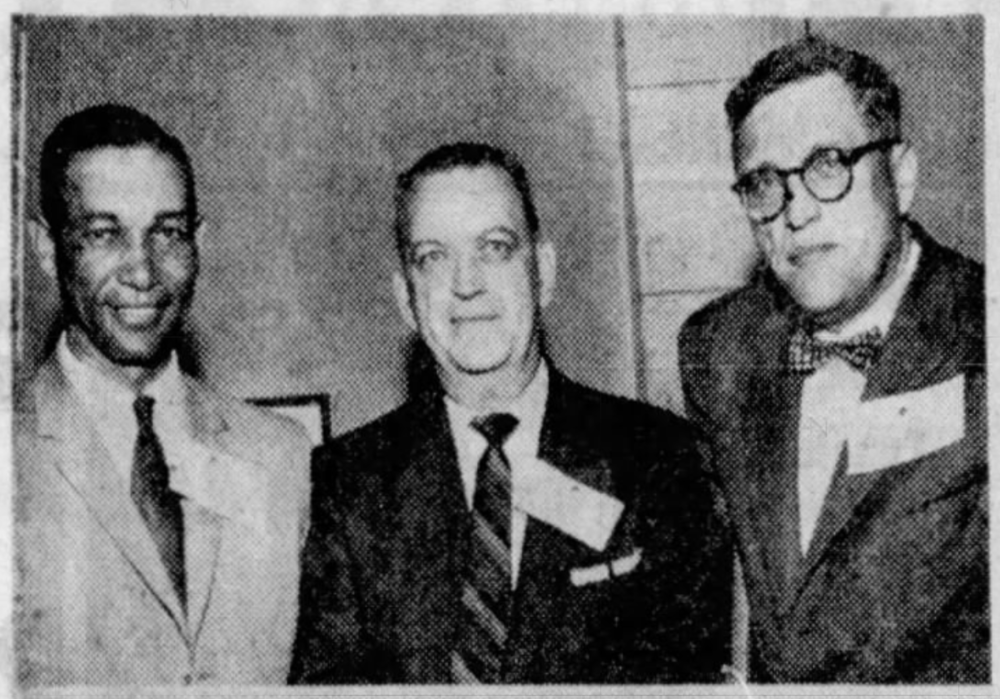 (L to R): Johnny Taylor, Walter Elliot (Hartford Courant Sportswriter, and Pete Naktenis, 1958.