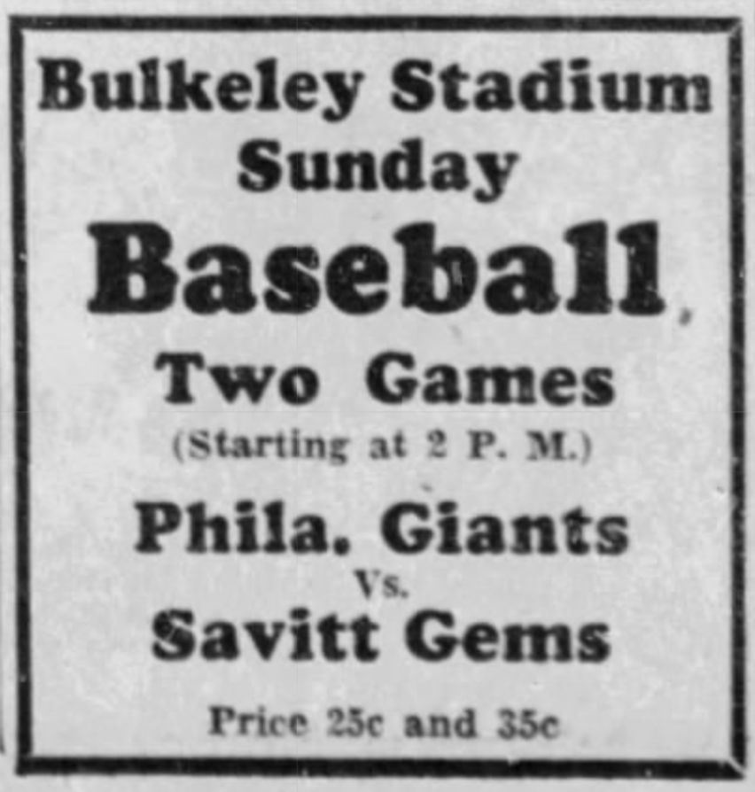 Philadelphia Colored Giants vs. Savitt Gems, 1933.