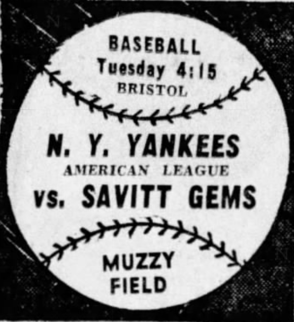 Savitt Gems vs. New York Yankees, 1945.