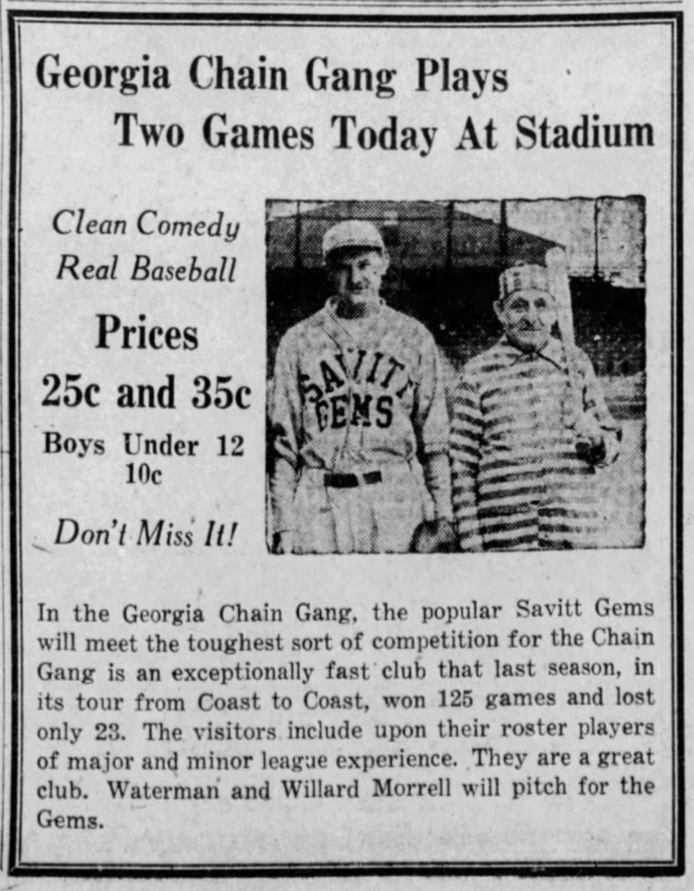 Savitt Gems vs. Georgia Chain Gang, 1933.
