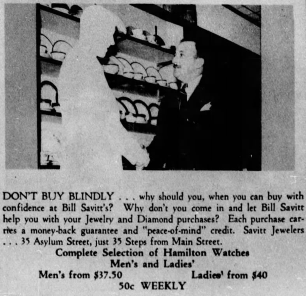 Savitt Jewelers advertisement, 1941.