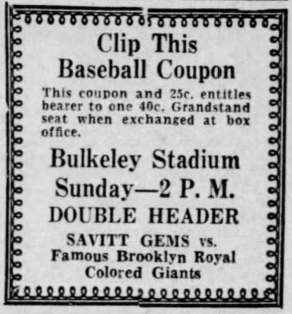 Savitt Gems vs. Brooklyn Royal Giants, 1935.
